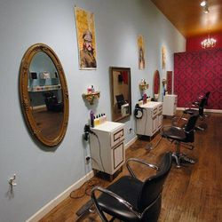 """With tons of funky charm, <a href=""""http://mopsbeautyshop.com/home.html"""">Mops Beauty Shop</a> [2500 North California Avenue] has color all over its walls—and on its services menu. Kristina Vaughn is the owner and master colorist, but several of the staffer"""