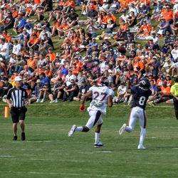 Broncos CB Brendan Langley looks to catch up with Bears rookie WR Garrett Johnson.