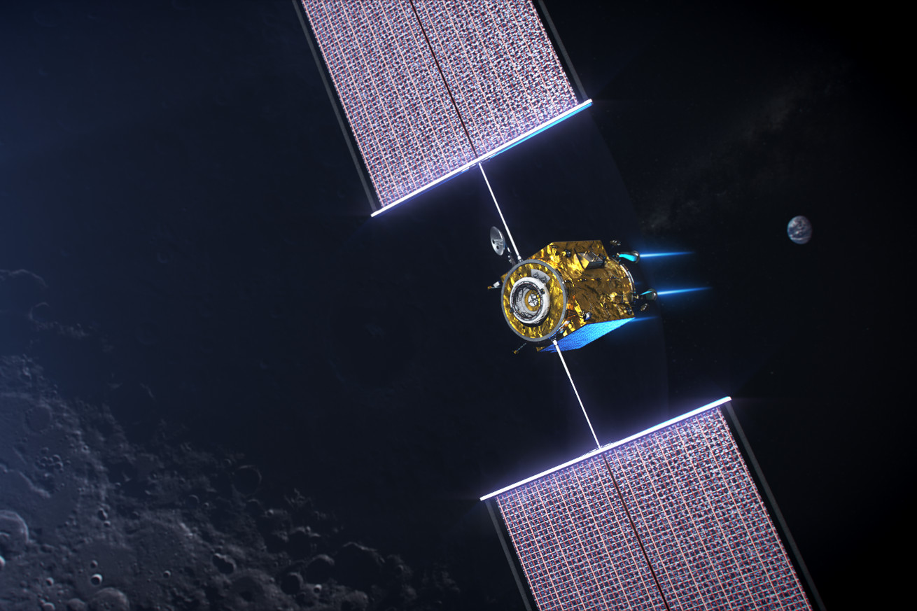 <em>An artistic rendering of the power and propulsion element needed for NASA's future Gateway space station</em>