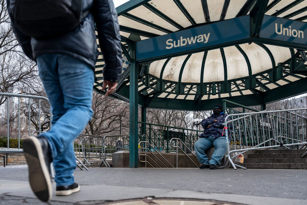 A subway station entrance on the west side of Union Square, Jan. 22, 2021.