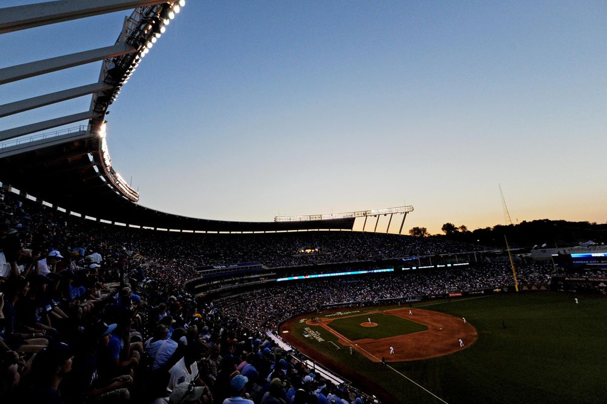 July 10, 2012; Kansas City, MO, USA; A general view of the stadium as the sun sets in the fifth inning of the 2012 MLB All Star Game at Kauffman Stadium.  Mandatory Credit: Jerry Lai/USA TODAY Sports via US PRESSWIRE