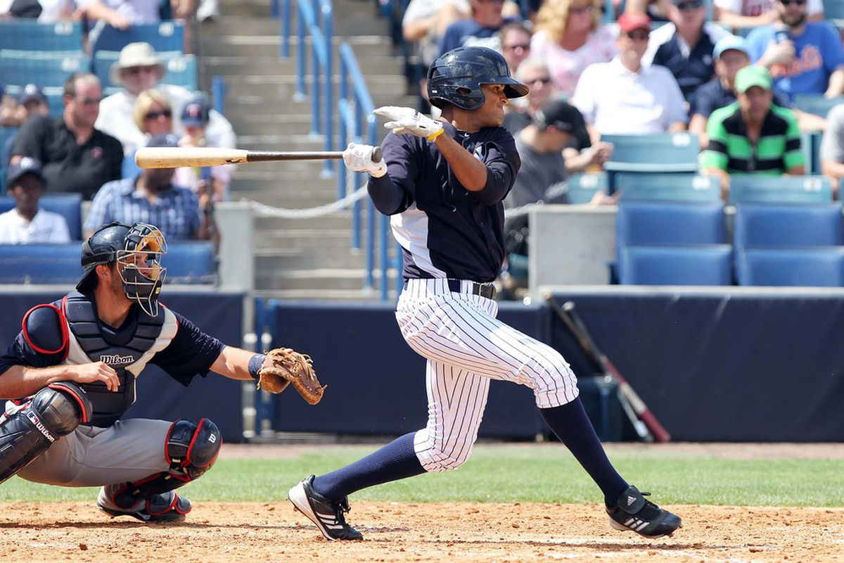Mason Williams with the Yankees during Spring Training in 2012.