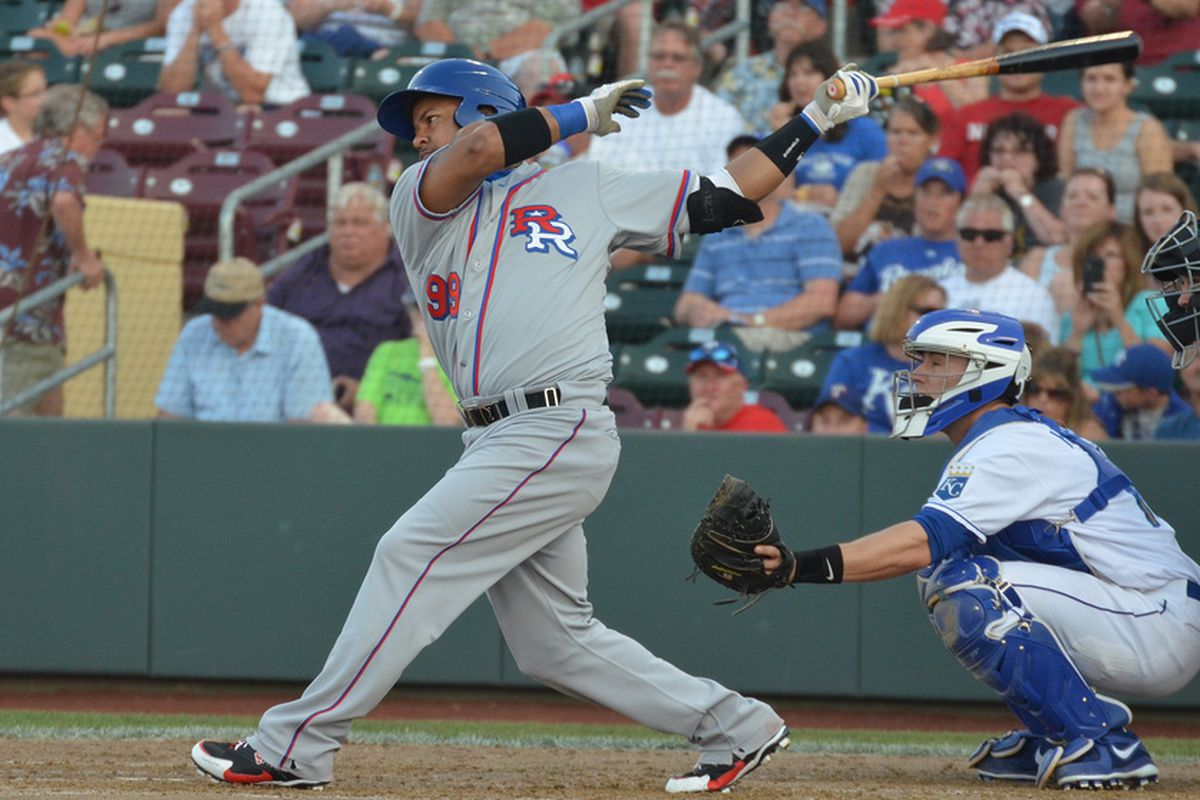 Manny Ramirez in action against the Omaha Storm Chasers in Omaha