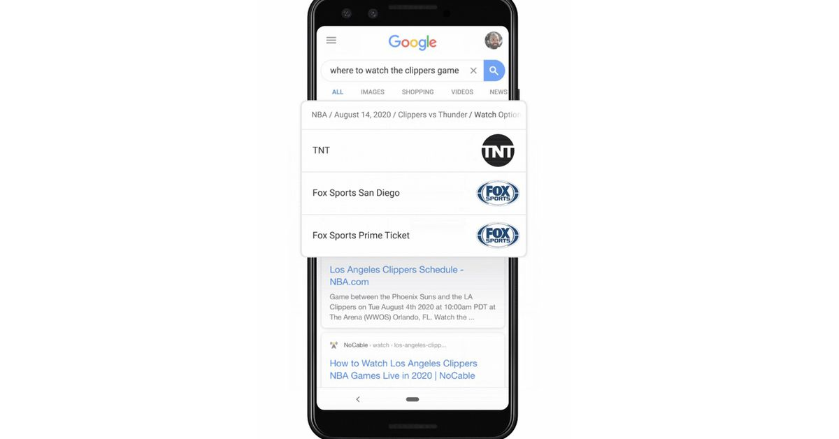 Google will show where to watch NBA or MLB games right in search