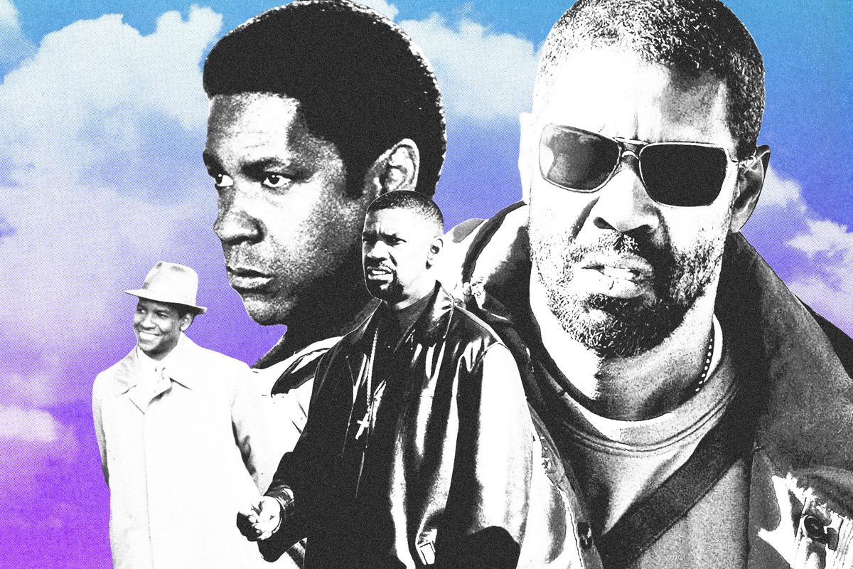 A collage of images of Denzel Washington in various roles