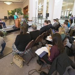 Sister Neill F. Marriott of the Church's Young Women general presidency speaks at a news conference Tuesday, Jan. 27, 2015,  inside the Conference Center in Salt Lake City, as LDS leaders reemphasize support for LGBT nondiscrimination laws that protect religious freedoms.