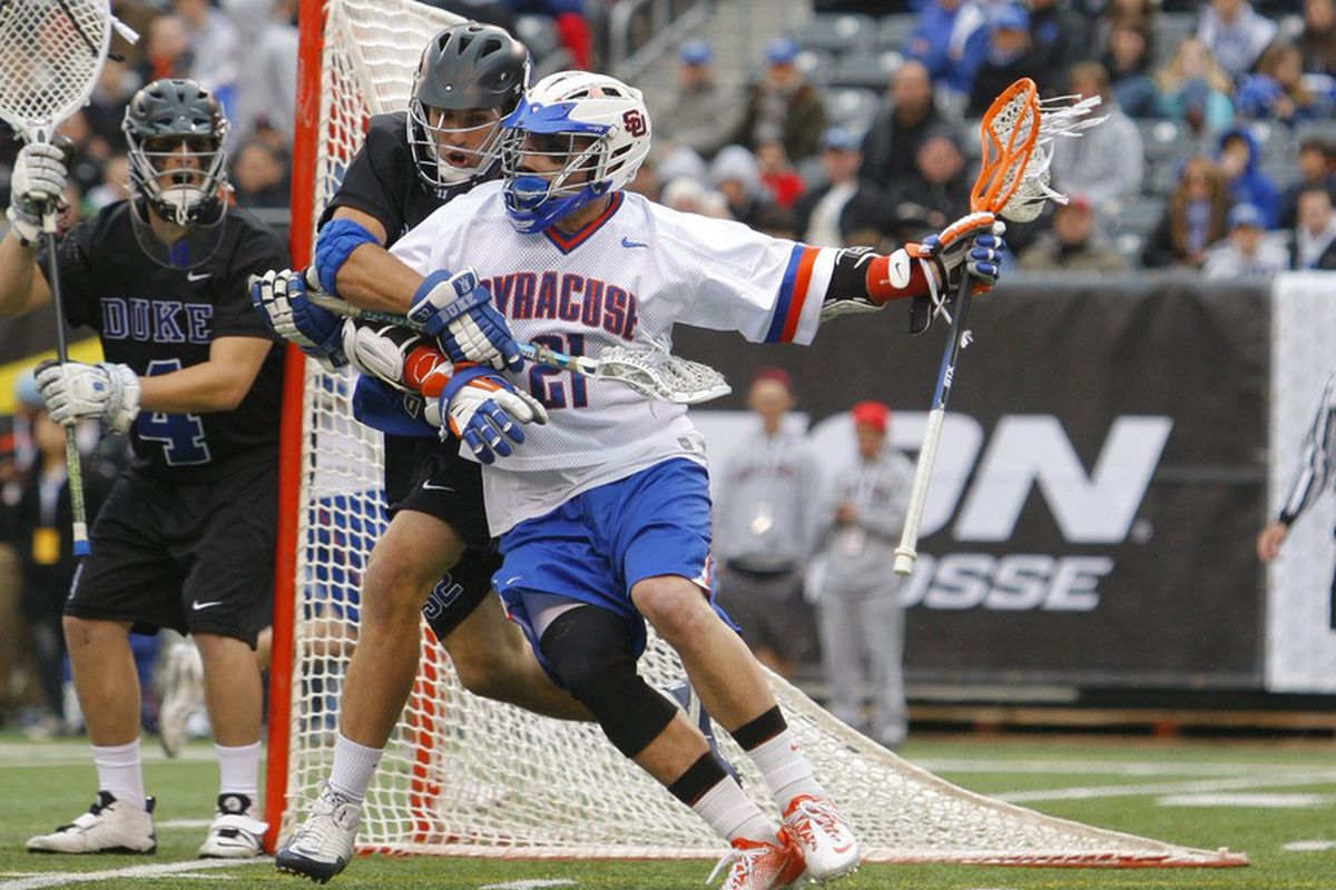 Apr 1, 2012; East Rutherford, NJ, USA;  Syracuse Orange attack Tim Desko (21) drives to the goal against the Duke Blue Devils at the Big City Classic at MetLife Stadium. Mandatory Credit: Jim O'Connor-US PRESSWIRE