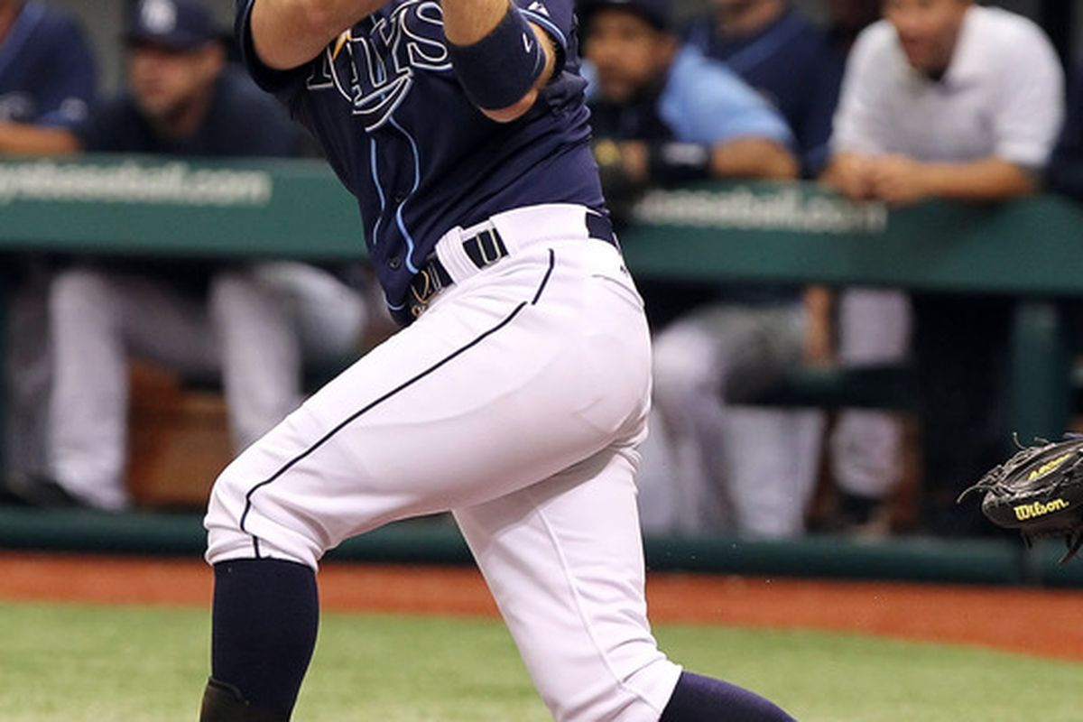 May 3, 2012; St. Petersburg, FL, USA; Tampa Bay Rays second baseman Jeff Keppinger (7) hit a 2-run home run in the second inning against the Seattle Mariners at Tropicana Field. Mandatory Credit: Kim Klement-US PRESSWIRE