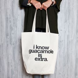 """Tote bag, <a href=""""http://www.dormify.com/gifts-kits/secret-santa/i-know-guac-is-extra-tote"""">$30</a> at Dormify"""