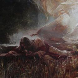 """Artist Walter Rane painting is inspired by the scripture Luke 22:43, which reads, """"And there appeared an angel unto him from heaven, strengthening him."""""""