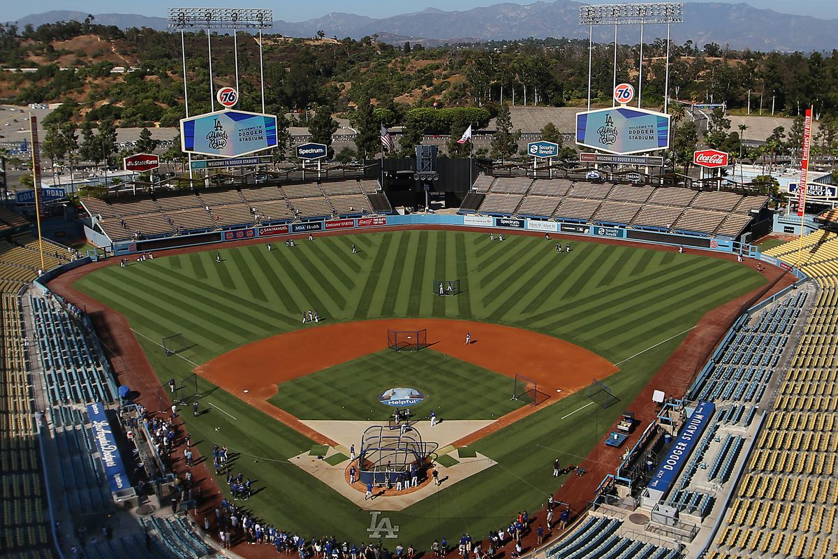 A general view is seen of Los Angeles Dodgers batting practice prior to the MLB game between the San Francisco Giants and the Los Angeles Dodgers at Dodger Stadium on September 07, 2019 in Los Angeles, California.