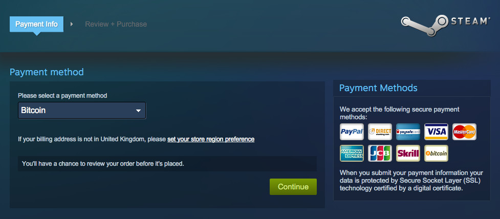 does steam accept cryptocurrency