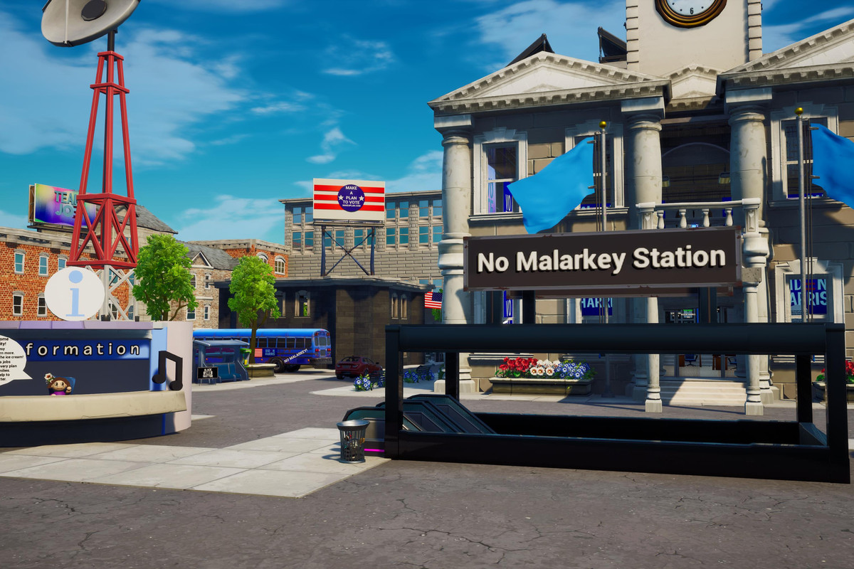 """Uma prefeitura com bandeiras Joe Biden e """"No Malarkey Station"""" feito em Fortnite"""