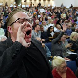 Andrew Ehninger yells during a town hall meeting with Rep. Jason Chaffetz, R-Utah, at Brighton High School in Cottonwood Heights on Thursday, Feb. 9, 2017.