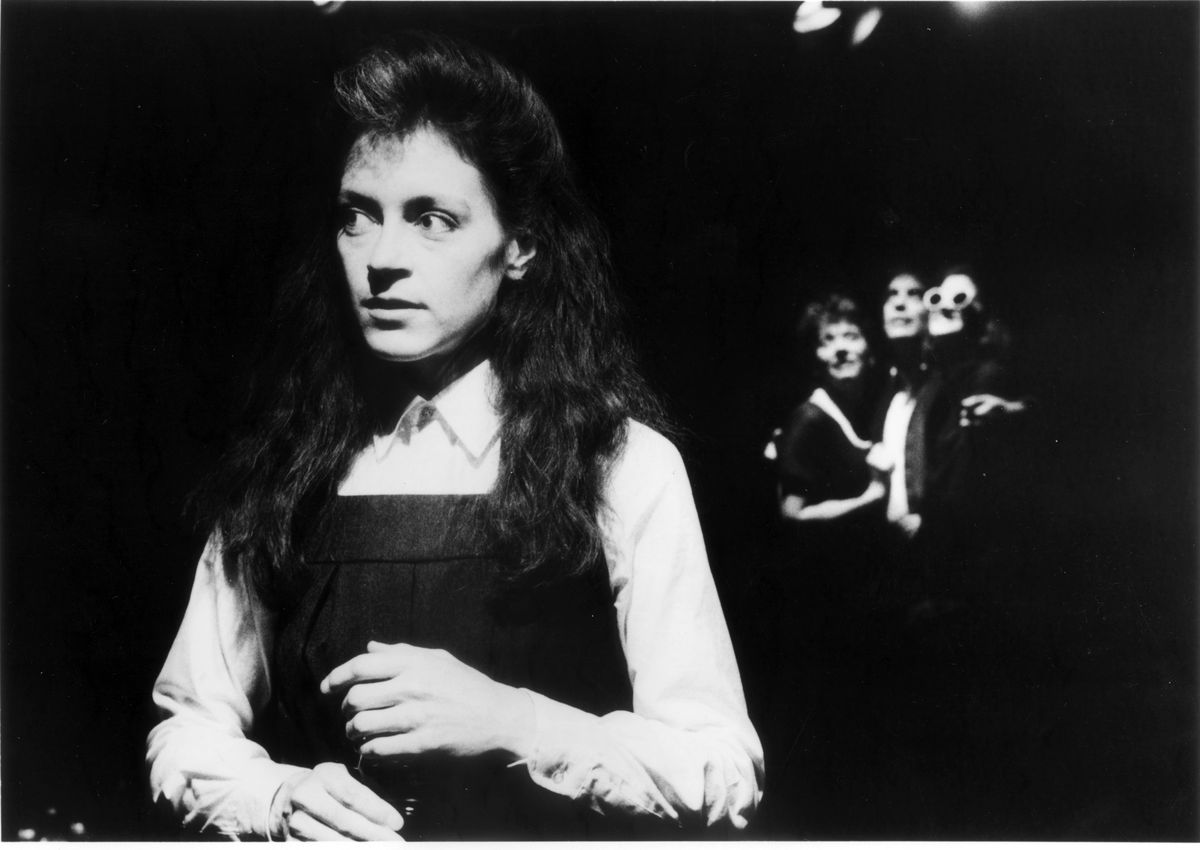 """Martha Lavey in the 1987 Steppenwolf Theatre production of Wallace Shawn's """"Aunt Dan and Lemon."""" 