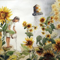 """Artwork by Lily Havey titled """"Sunflowers"""" in Watercolor Santa Anita & Amache Series in collection of Center for Documentary Arts."""