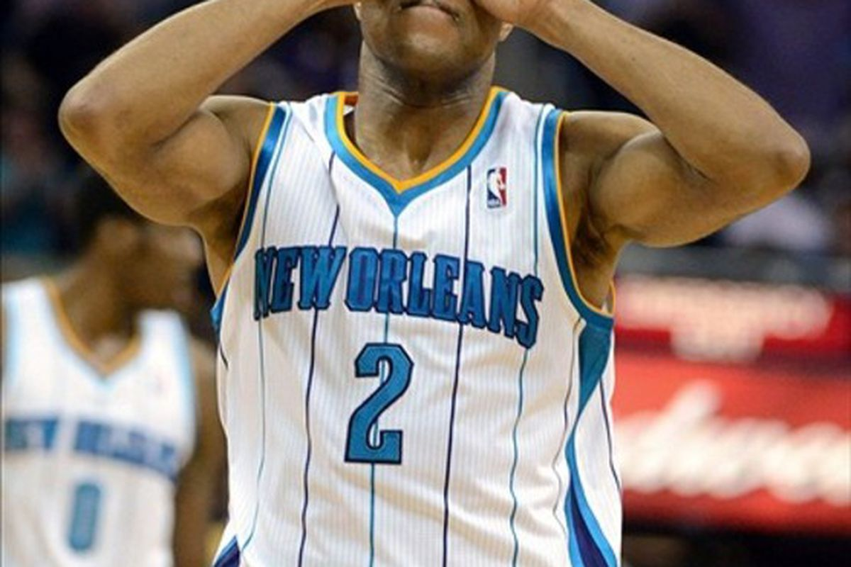 Mar 14, 2012; New Orleans, LA, USA; New Orleans Hornets point guard Jarrett Jack (2) gestures after making a shot against the Los Angeles Lakers in the second half of their game at the New Orleans Arena. Mandatory Credit: Chuck Cook-US PRESSWIRE