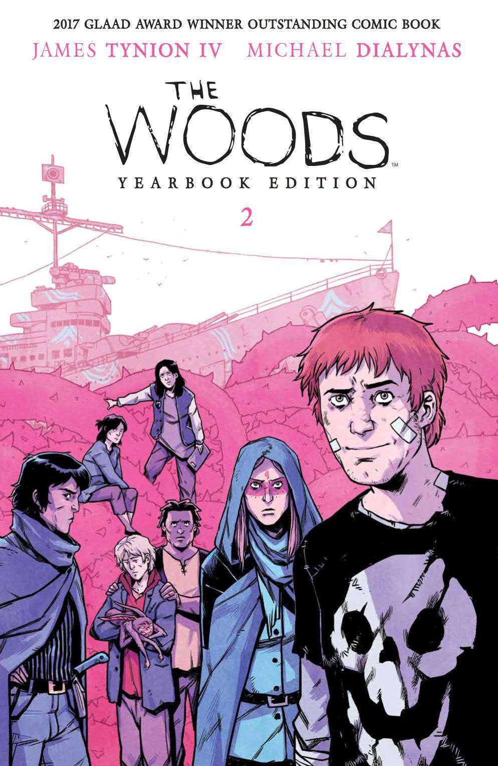 The lost teenage characters of The Woods, on the cover of The Woods Yearbook Edition Book Two, Boom Studios (2019).