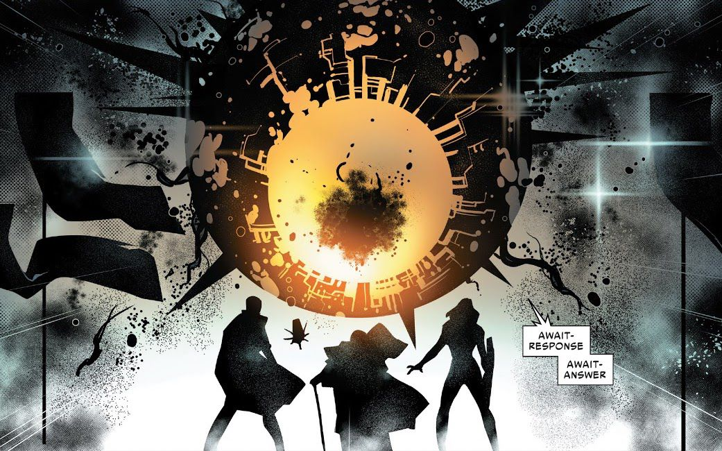 The Phalanx speaks to the Librarian and other Post-Humans in Powers of X #4, Marvel Comics (2019).