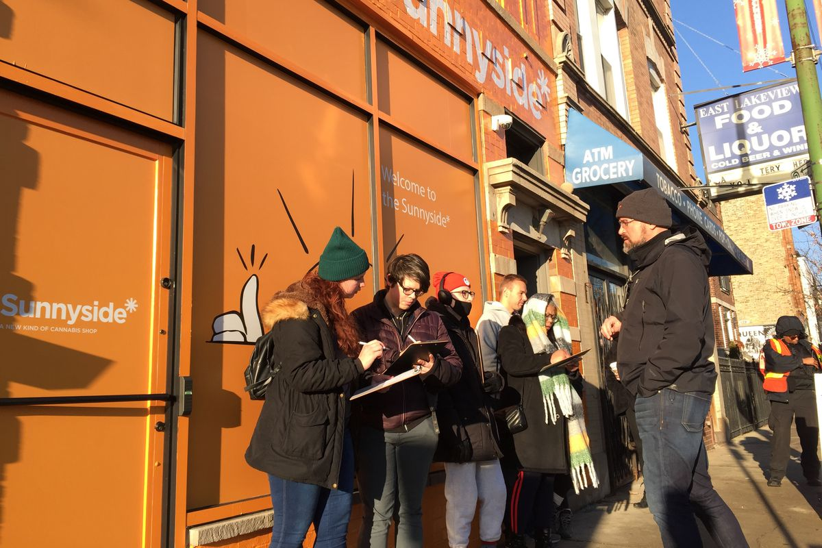 Customers wait outside Sunnyside, a pot dispensary in Wrigleyville.