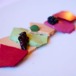 """Foie Gras marinated with Nepitella and Blackberry from Eleven Madison Park by <a href=""""http://www.flickr.com/photos/gourmetgourmand/8079525222/in/pool-eater"""">gourmetgourmand</a>"""