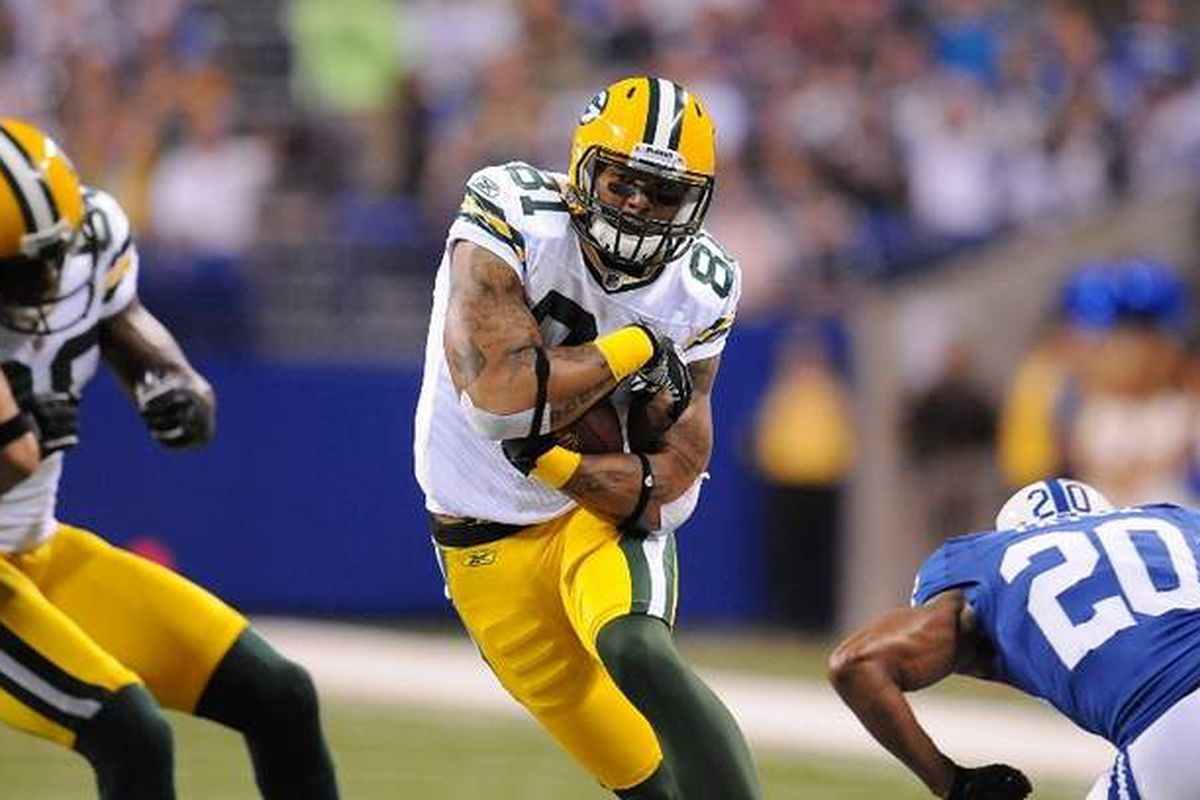 Andrew Quarless (81) makes a cut during a 2011 preseason game against the Indianapolis Colts
