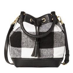 Shearling Drawstring Bucket Bag in Black/White Plaid, $39.99