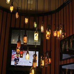 The wine bottle chandelier.