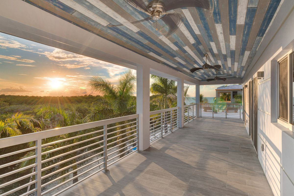 Sunset view off the upper deck of a modern build in the Florida Keys
