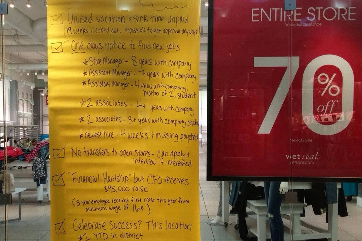 Angry Wet Seal Employees in Seattle Stage a Boycott - Racked