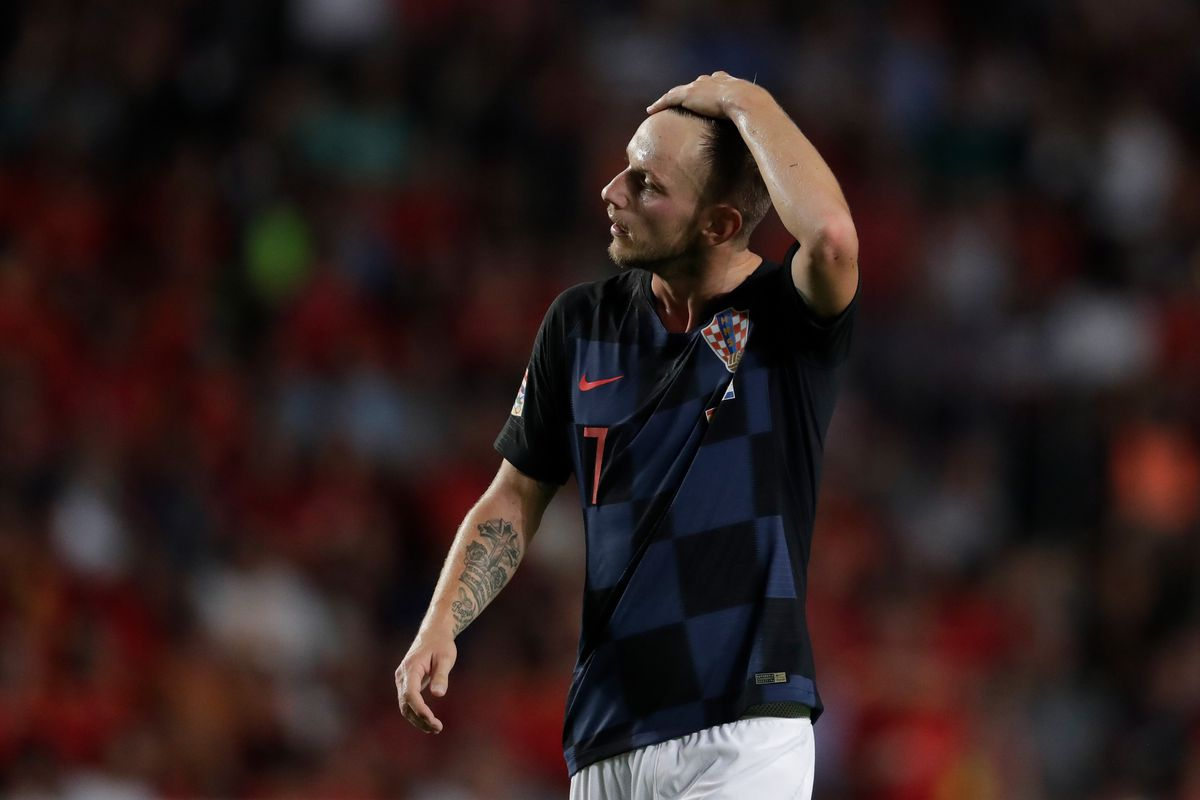 Ivan Rakitic seen walking home from international duty with Croatia