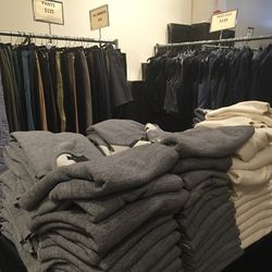 Men's sweaters ($110), pants ($125), shorts ($75), and vests ($110)