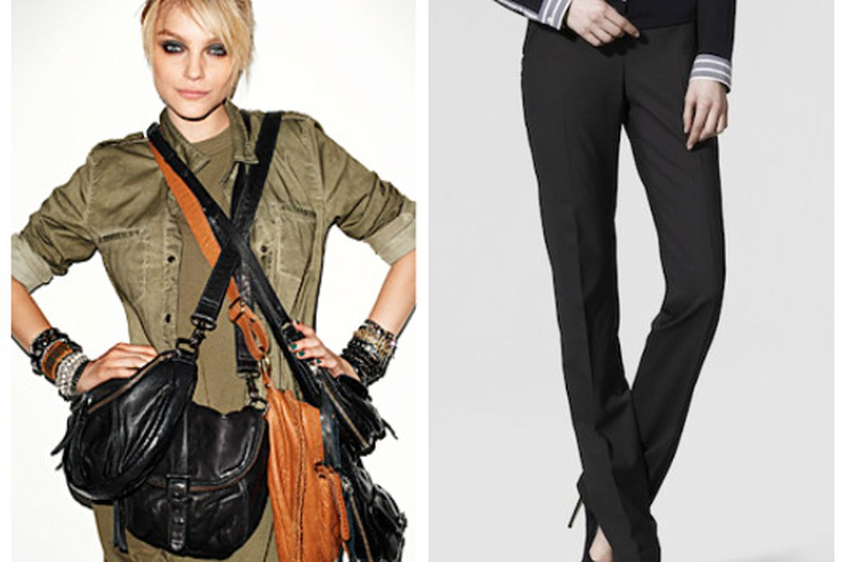 """Aldo's slouchy leather bags and Theory's peg-leg pants are new for fall. Images via <a href=""""http://news.instyle.com/2010/08/24/aldo-launches-real-leather-bags/"""">InStyle</a> and <a href=""""http://www.luckymag.com/blogs/luckyrightnow/2010/08/the-re-iss"""