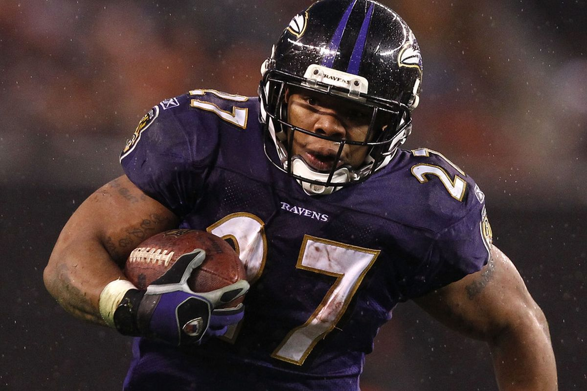 CLEVELAND, OH - DECEMBER 04:  Running back Ray Rice #27 of the Baltimore Ravens runs the ball against the Cleveland Browns at Cleveland Browns Stadium on December 4, 2011 in Cleveland, Ohio.  (Photo by Matt Sullivan/Getty Images)