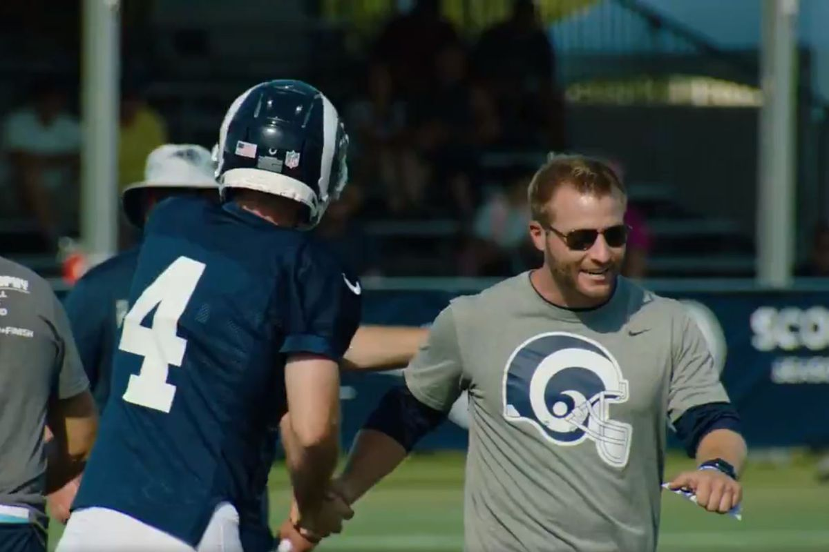 Los Angeles Rams K Greg Zuerlein is congratulated by HC Sean McVay after kicking a 63-yard field goal during training camp, August 1, 2018.