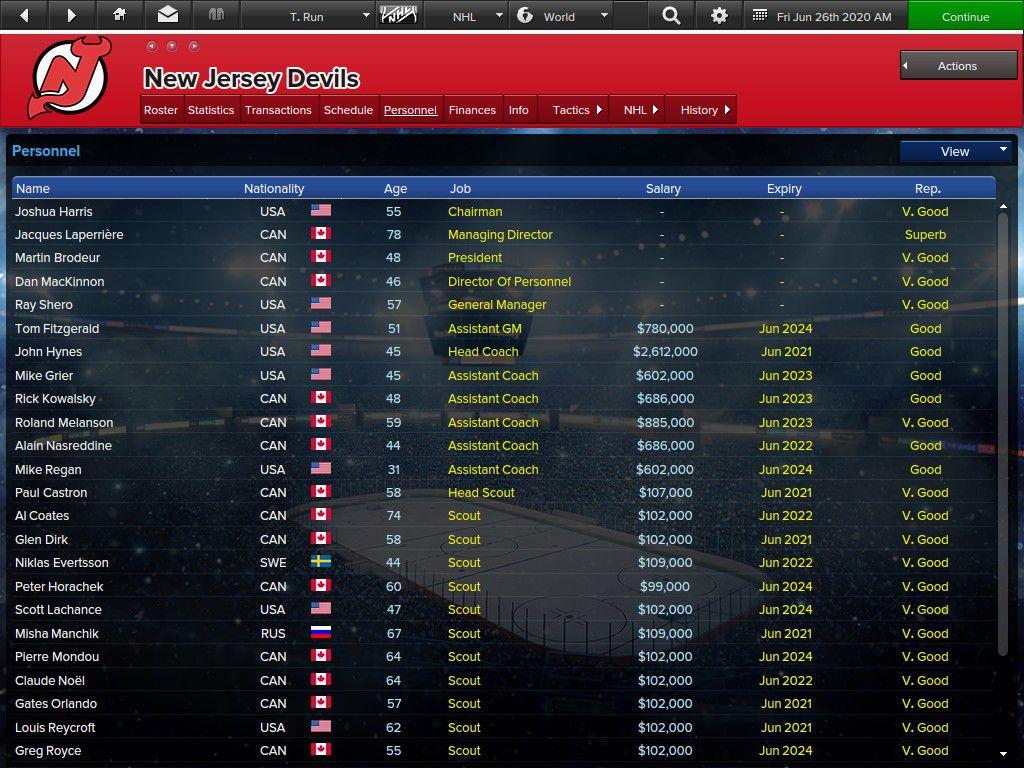 Devils Staff Listings as of June 26, 2020 for Trial Run