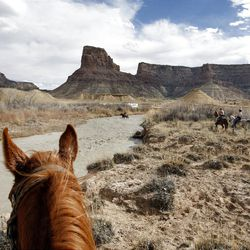 The final crossing before reaching the San Rafael Bridge area while riding horses down the Little Grand Canyon of the San Rafael Swell  Saturday, April 2, 2011, in the San Rafael Swell in Central Utah.