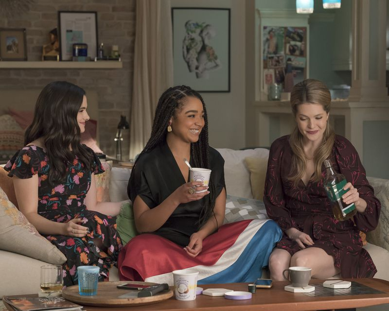 Katie Stevens, Aisha Dee, and Meghann Fahy in the season 3 finale of The Bold Type.