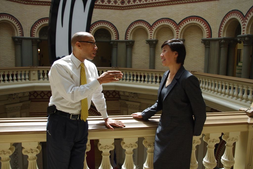 In a picture the Department of Education distributed on Twitter, Chancellor Dennis Walcott speaks to Jie Zhang, Stuyvesant High School's interim principal, today.