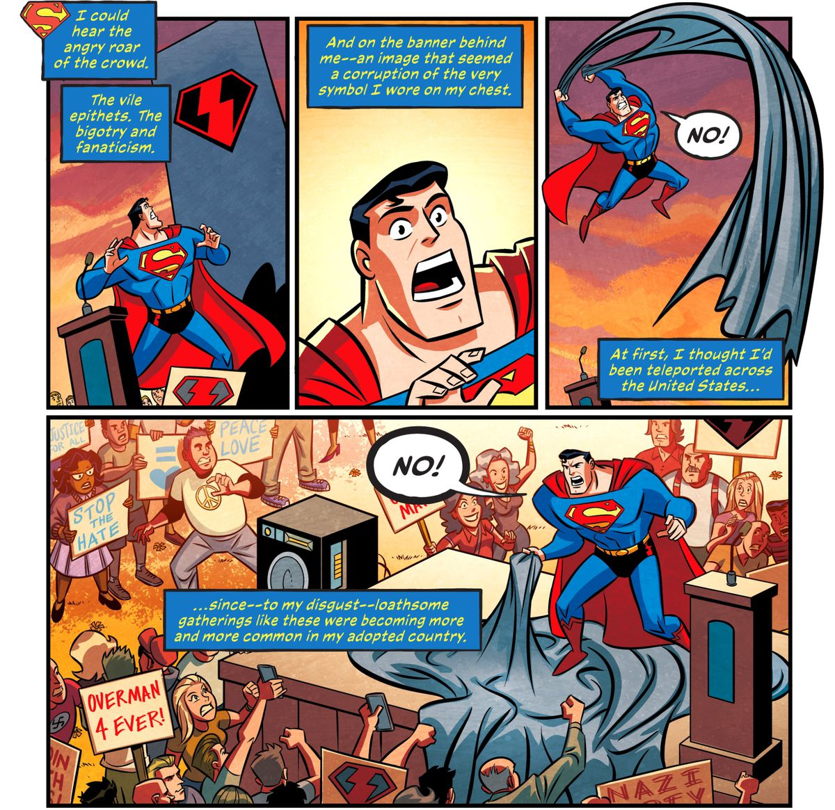 Superman is shocked to find himself in the middle of a rally/counter protest between anti-fascist pacifists and supporters of what appears to be a fascist version of his symbol — one of the supporters has a pro-Nazi sign, in Justice League Infinity #2 (2021).