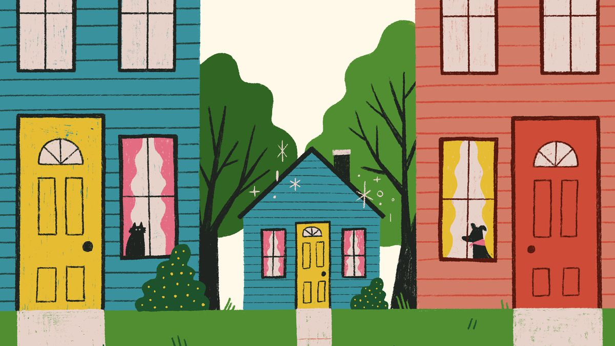 A tiny home-replica playhouse sits in between two neighboring homes, matching the one on the left. They're both decorated similarly with cute pitched roofs, pink drapes, and matching shrubs by their front doors. Illustration.