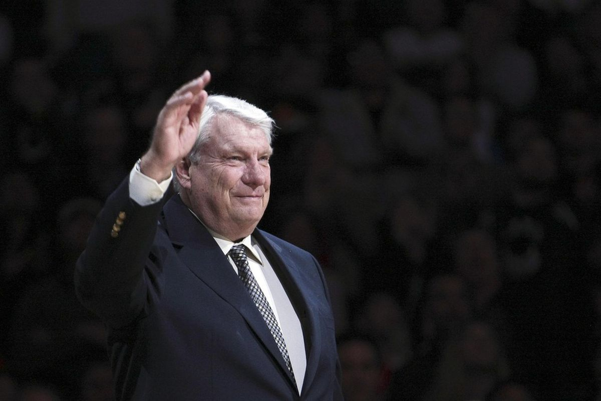 March 19, 2012; Oakland, CA, USA; Golden State Warriors former coach Don Nelson waves to fans during the half time ceremony to retire the #17 jersey of Chris Mullin at Oracle Arena. Mandatory Credit: Kelley L Cox-US PRESSWIRE