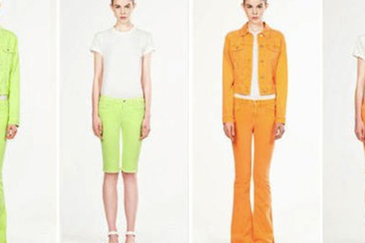 """We have a sudden craving for Tropical Skittles. Image via <a href=""""http://racked.com/archives/2011/09/19/speaking-of-christopher-kane-heres-his-j-brand-collaboration.php"""">Racked</a>."""