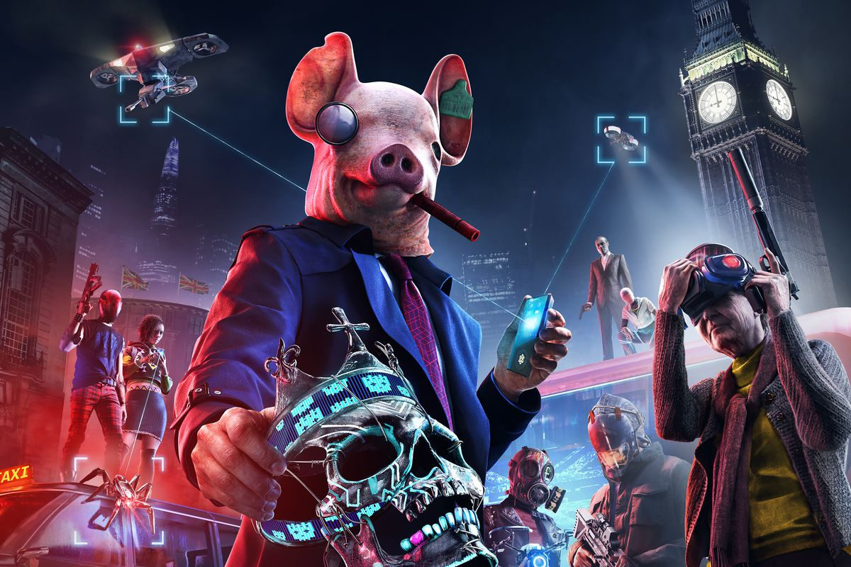 Watch Dogs: Legion artwork showing a character wearing a pig mask and holding a skull