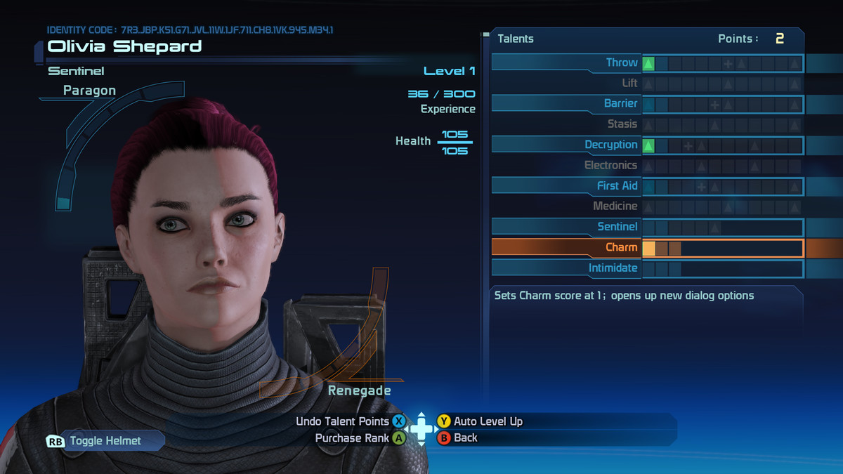 Mass Effect status menu