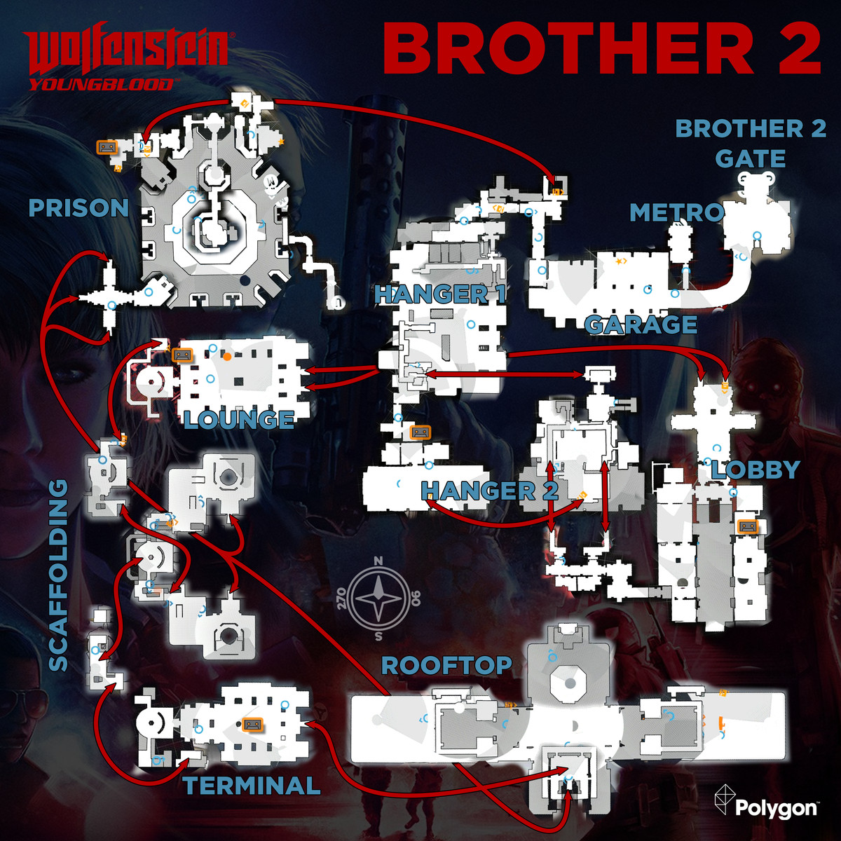 Wolfenstein: Youngblood Brother 2 map with Cassette Tapes locations