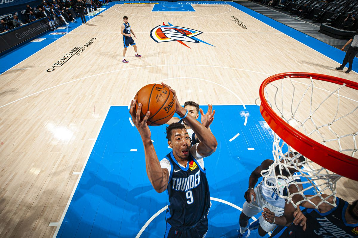 Moses Brown #9 of the Oklahoma City Thunder drives to the basket against the Dallas Mavericks on March 11, 2021 at Chesapeake Energy Arena in Oklahoma City, Oklahoma.