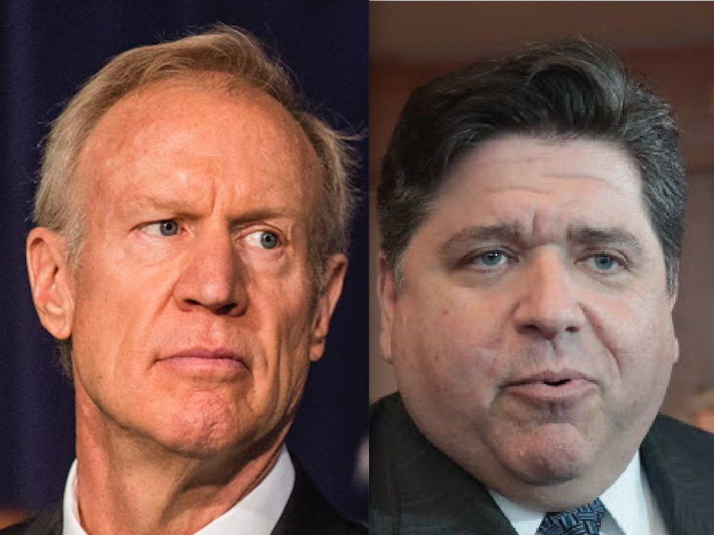 Gov. Bruce Rauner, left, listens during a news conference in June. | Tyler LaRiviere/Sun-Times; J.B. Pritzker, right, speaks to reporters in April. | File Photo by Scott Olson/Getty Images.