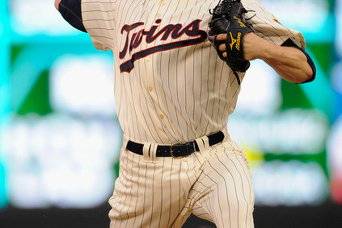 MINNEAPOLIS, MN - JUNE 18: Scott Baker #30 of the Minnesota Twins delivers a pitch against the San Diego Padres in the first inning on June 18, 2011 at Target Field in Minneapolis, Minnesota. (Photo by Hannah Foslien/Getty Images)