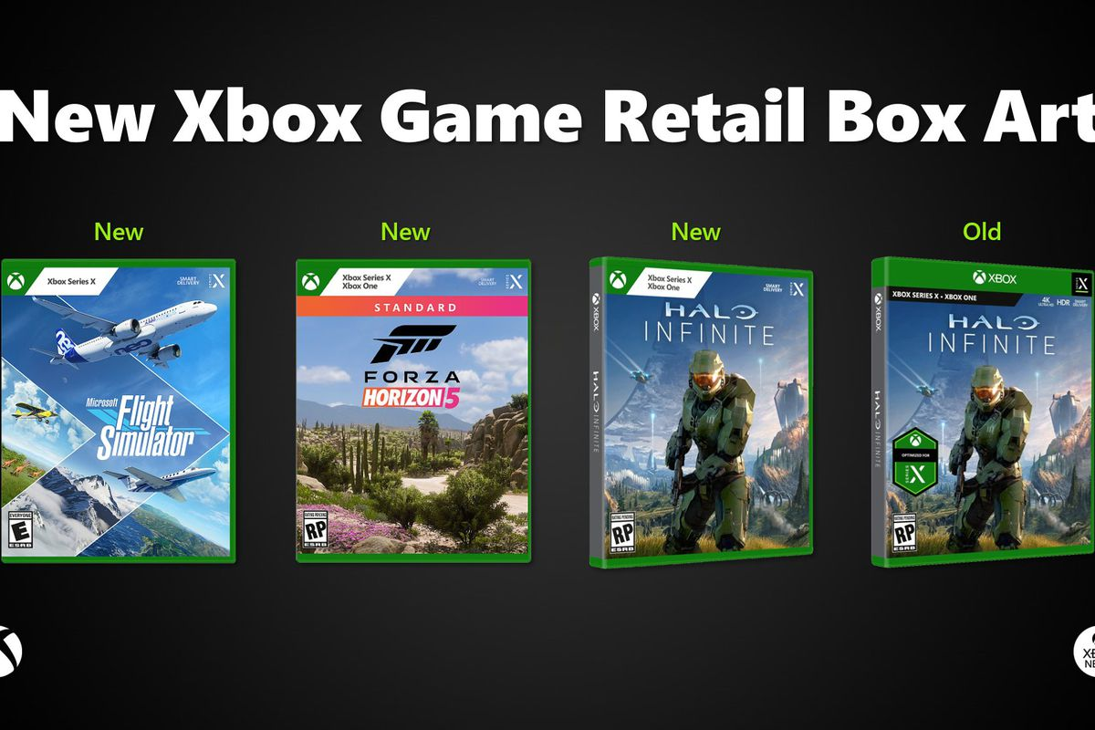 lineup showing how Xbox game case labeling has changed in 2021. Three new cases at left, with an older one at far right.